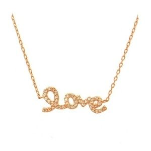 Jewelry - Rose Gold Plated Love Script Necklace